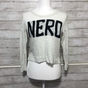 "Say What? ""NERD"" Long Sleeved Crop Top Size L"